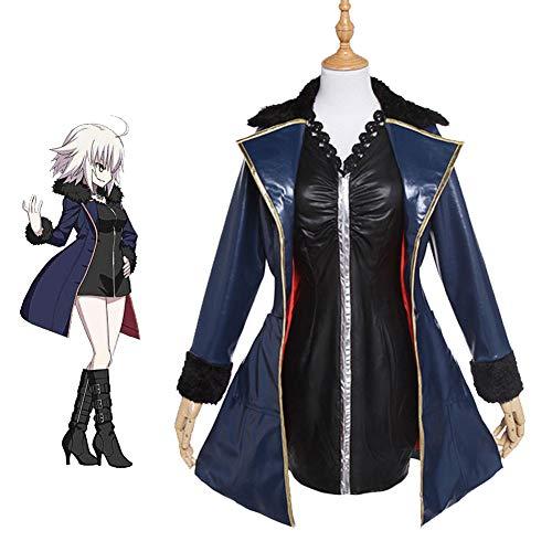 Fate/Grand Order Juana De Arco Disfraz De Cosplay Chaqueta Azul Y Vestido Negro Delgado Trajes Diarios,L