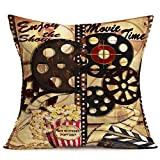 Fukeen Movie Time Throw Pillow Covers Vintage Film Reels Popcorn Clapperboard Decorative Pillow Cases Cinema Home Theater Decor Cotton Linen Enjoy The Shown Words Cushion Cover 18x18 Inch