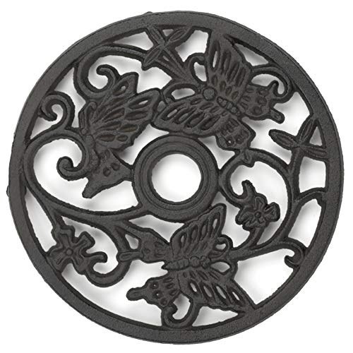 gasaré, Cast Iron Trivet, Metal Trivet, Butterflies Decor, for Hot Dishes, Pots, Kitchen, Countertop, Dining Table, Rubber Feet Caps, Solid Cast Iron, 7 ½ Inches, Brown Finish