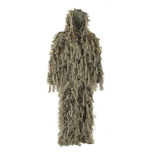 Auscamotek Hybrid Ghillie Suit for Hunting Camouflage Suit Dry Grass 3D Leaf Gilly Suits (M L), Brown