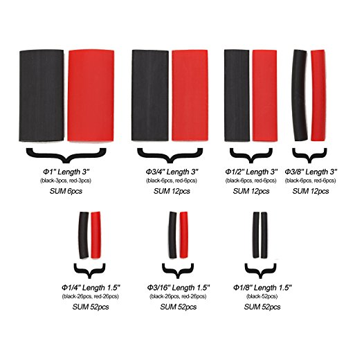 "SwitchMe 198Pcs 3:1 Heat Shrink Tubing Double-Wall Adhesive Lined Shrink Wrap Tubing Assortment Kit 7 Size 1"" 3/4"" 1/2"" 3/8"" 1/4"" 3/16"" 1/8"" Mix Black Red"