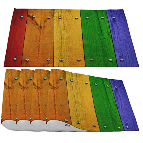 Moslion Multicolored Wood Placemats,Bright Colorful Fence Planks Red Yellow Green Blue Place Mats for Dining Table/Kitchen Table,Waterproof Heat-Resistant Washable Outdoor Dinner Table Mats,Set of 4