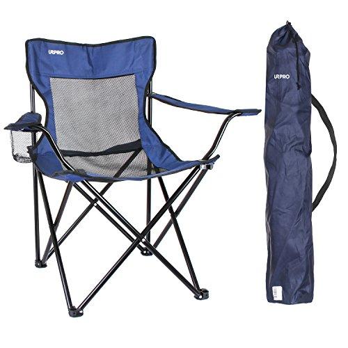 Camping Chair, URPRO Portable Folding Mesh Back Quad Chair for Hiking,Camping, Hunting, Watching Soccer Games, Fishing, Picnic, BBQ (KT210-B)