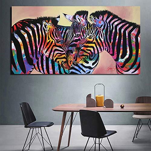 tzxdbh Modernes Zuhause Outfit Tiere Ölgemälde Poster DREI farbige Zebras auf Leinwand Wandkunst Bilder für Wohnzimmer No Frame Group No Frame 70x140 cm
