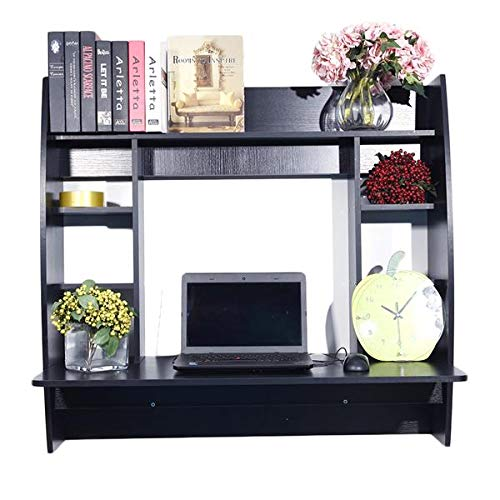 Wall Mounted Space-Saving Wall Built-up Computer Desk Floating Desk with Storage for Home Bedroom Living Room Apartment Dorm Bookshelf (Black)