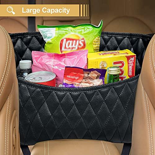 ZUXNZUX Auto Netztasche Handtaschen, Auto Handtaschenhalter, Auto Organizer zwischen Den Sitzen, Auto Aufbewahrungstasche zwischen Snacks/Wallets/Getränke (Schwarz)