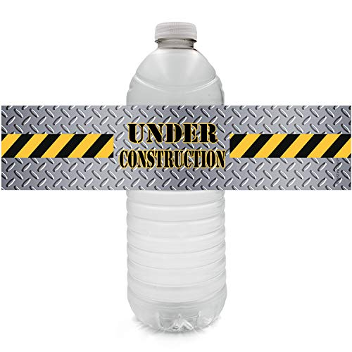 Construction Birthday Party Water Bottle Labels - 24 Stickers