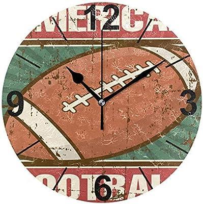 Reloj de pared redondo de madera con diseño de balón de rugby de ...