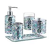 Housewares - Juego de accesorios de baño (5 unidades) con dispensador de loción/bomba de jabón, tarro de algodón, vaso, jabonera, soporte para cepillos de dientes (verde multiazul)