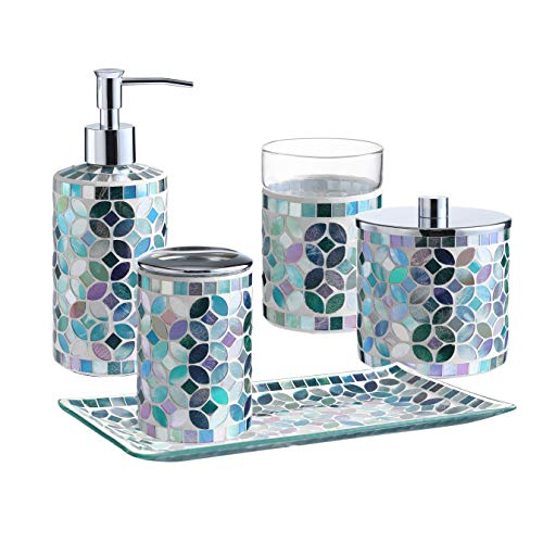 KMwares Decorative Mosaic Glass Bathroom Accessories Set 5PCs - Includes Hande Soap Dispenser & Cotton Jar & Tumbler & Vanity Tray & Toothbrush Holder - Multi Blue Green
