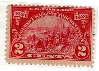 Postage Stamps United States. One Single 2 Cents Carmine Rose Landing At Fort Orange , Huguenot-Walloon Tercentenary Issue Stamp Dated 1924, Scott #615.