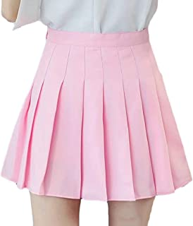 Womens High Waist Pleated Casual Skater Tennis School Short Skirt