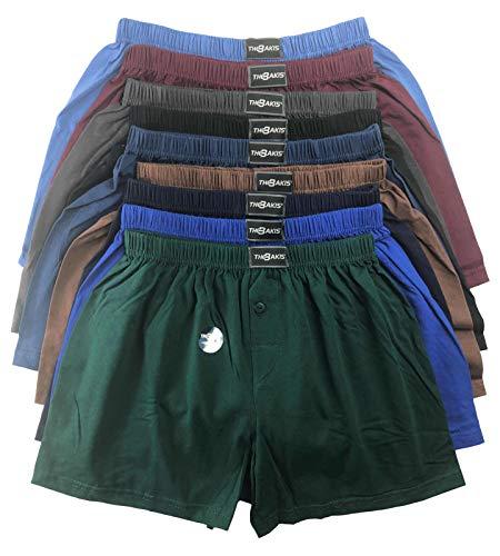 .bakis. 3/6/9/12 Stück Klassische Herren Boxershorts Unterhosen Unterwäsche mit Eingriff in Normalgröße und Übergröße in verschiedenen Unifarben Gr.5(S)-13(6XL) - 12 Stück - Gr. 10(3XL)
