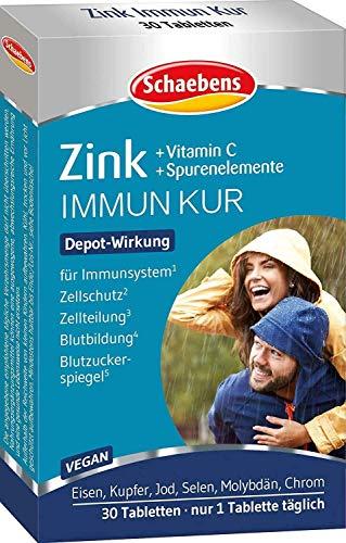 Schaebens Zink + Vitamin C + Spurenelemente - Nahrungsergänzungsmittel mit Spurenelementen und Vitamin C - 30 Tabletten