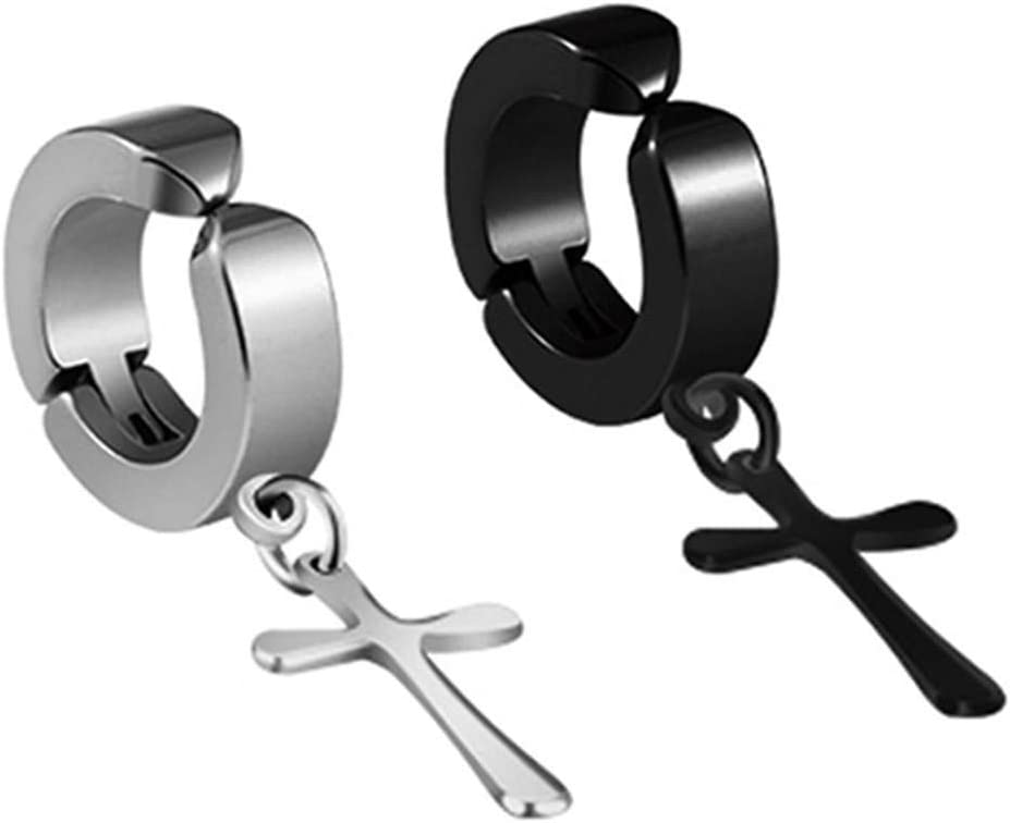Euone_Jewelry Earring Studs Non-Pierced Clip On Dangle Hoop Earrings Set Stainless Steel No Piercing,Stud Earrings for Women Teen Girls