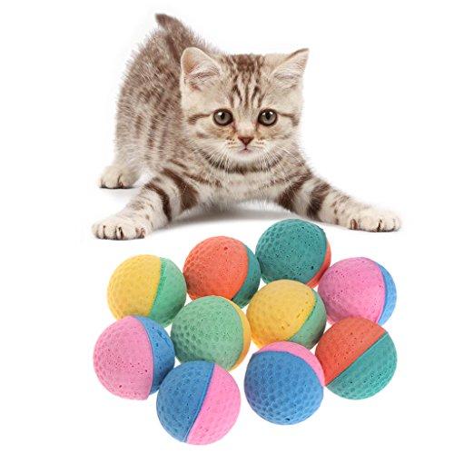Guoyy - Pelotas de látex para mascotas, 10 unidades, coloridas para masticar perros, gatos, cachorros, gatitos, suaves y elásticas