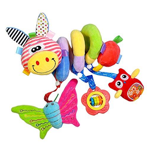 MagiDeal Baby Spirale Rasseln Plüschtiere Musik Spielzeug für Babyschale Kinderbett Kinderwagen, Bbay pädagogisches Spielzeug, Mehrfarbig - Hirsch # A