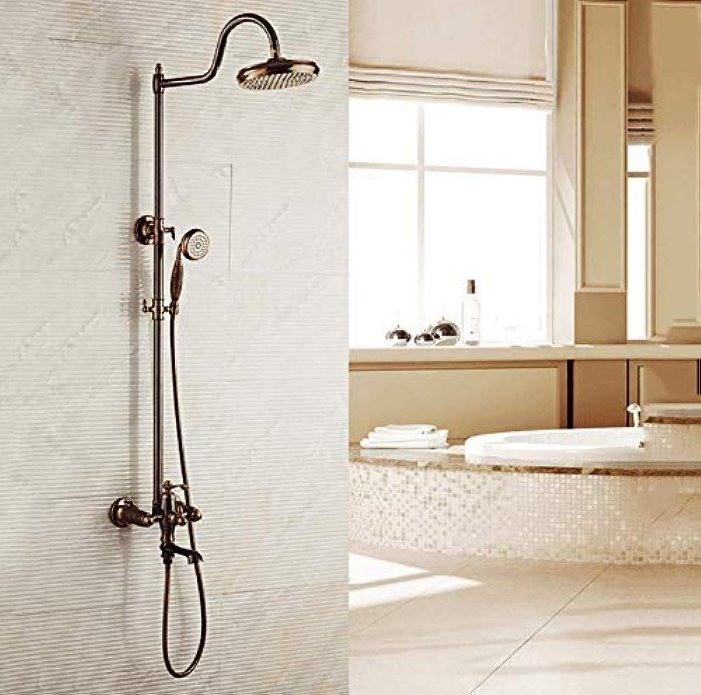 GFF Dusche European Retro Shower Duschset Copper Lift Badezimmer Hot Cold Shower Handbrause Mischbatterie