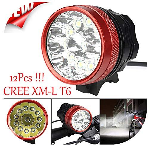 Fahrradlicht Set, 28000 LM 12 x XM-L T6 Warnung Taschenlampe StVZO Zugelassen Wasserdicht,Fahrradlampe,Fahrradlichter Camping Wandern, Geeignet für Camping, Angeln, Wandern, Kartenlesen (Rot)