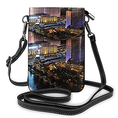 Las Vegas Nachtsicht-Druck, kleine Handy-Geldbörse, kleine Umhängetasche, Mini-Handytasche, Schultertasche