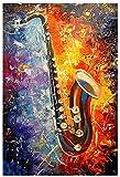Rompecabezas Adultos Niños Puzzle 500 Piezas Imagen colorida del saxofón 200 Piece 13.7x9.8inch(35x25cm) Sin Marco