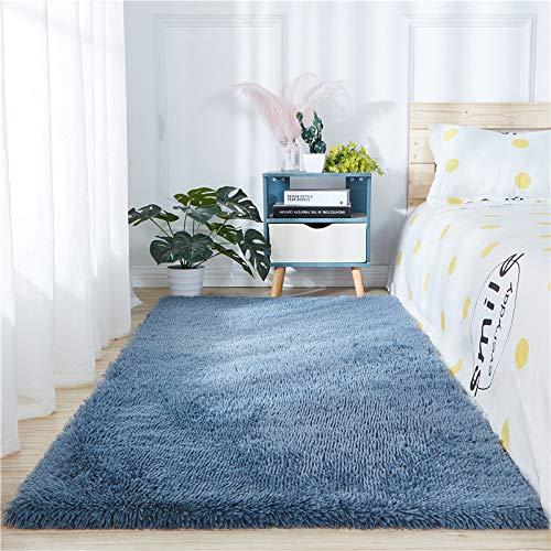 Alfombra rectangular de piel de oveja muy suave y esponjosa, para el hogar, decoración para el salón, dormitorio, color azul polvoriento, 1,8 m x 2,7 m