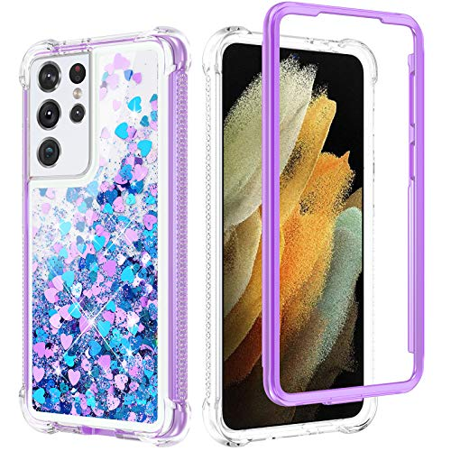 Caka Glitter Case for Galaxy S21 Ultra 5G Case for Women Girls Full Body Liquid Bling Sparkle Fashion Flowing Floating Quicksand Clear Shockproof Bumper Phone Case for Galaxy S21 Ultra (Blue Purple)