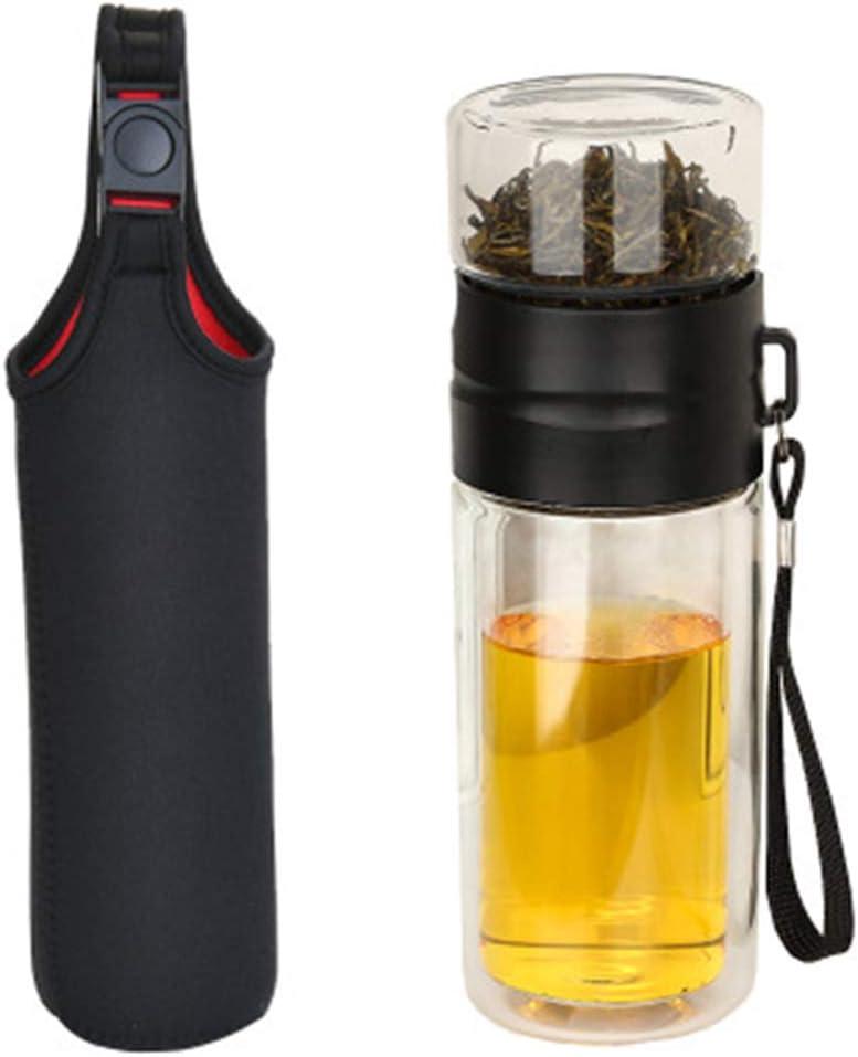 Bouteille d/'eau portable verre Infuseur thé double paroi en acier inoxydable Filtre services