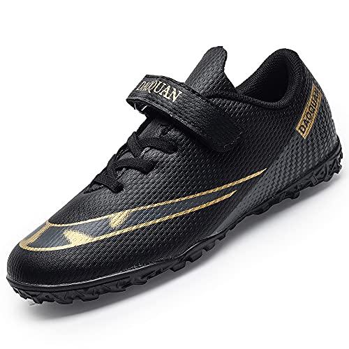 Rokiemen Zapatillas de Fútbol Niño FG/TF Profesionales Aire Libre Atletismo Calzado de Entrenamiento Antideslizante y Resistente al Desgaste Negro 34