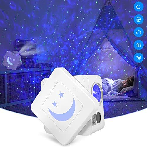 Proiettore Rotante a Luce Stellare, Delicacy Stellato Proiettore Cubo, LED Luce Nebulosa con Timer, Smiley Luci Notturne, per Bambini/Adulti/Regalo/Decorazioni
