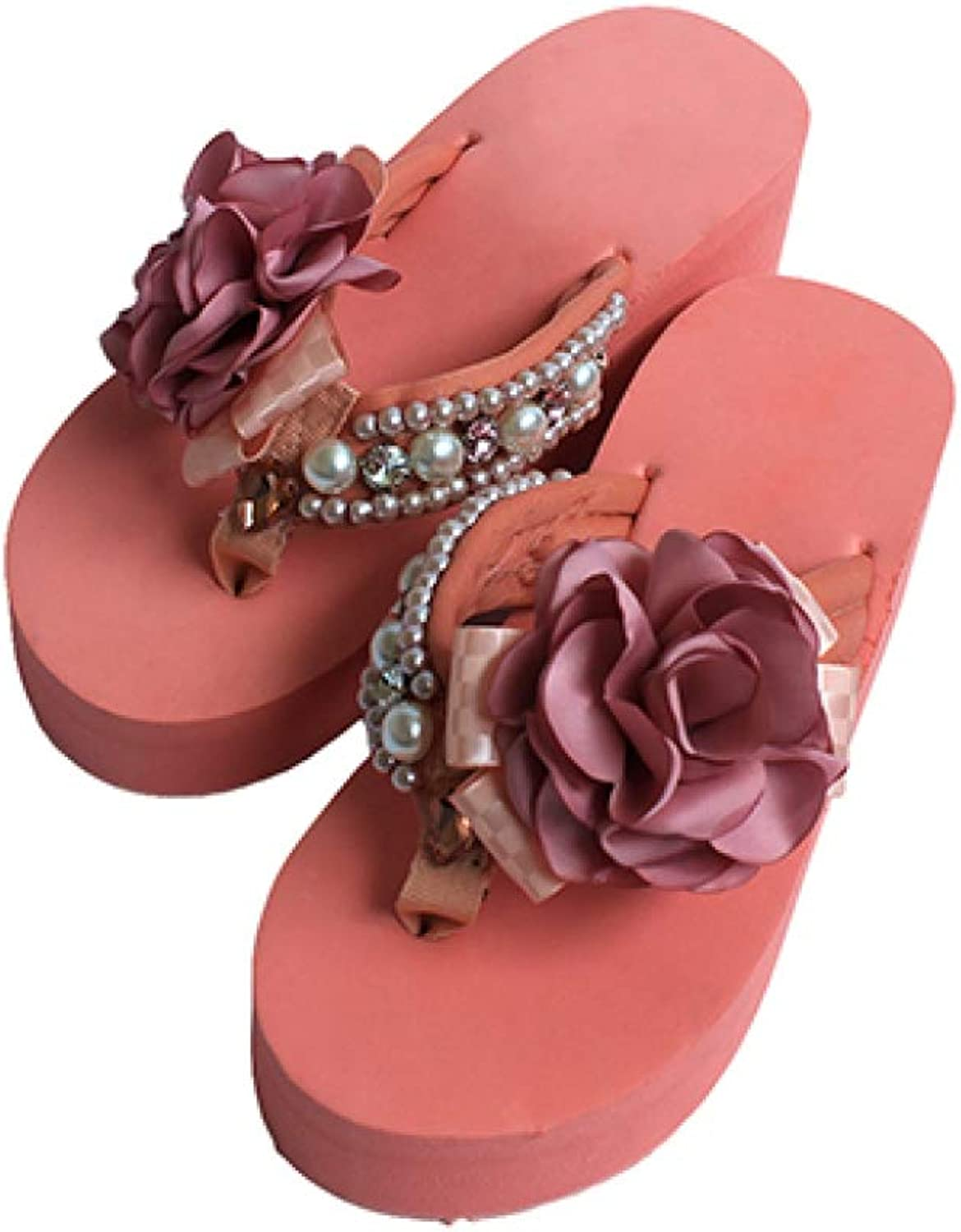 T-JULY Handcraft Pearls Rhinestone High Heels Flip Flops Platform Wedges Women Slippers Lady Slides