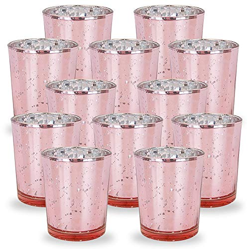 Just Artifacts Mercury Glass Votive Candle Holders 2.75-Inch Speckled Blush (Set of 12) - Mercury Glass Votive Candle Holders for Weddings and Home Décor