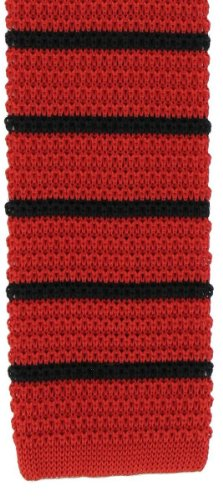 Michelsons of London Red/Black Silk tricoté rayé maigre cravate de