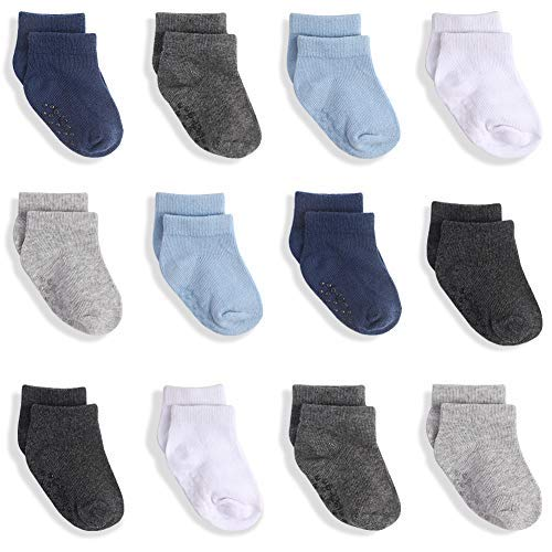 JAKIDAR 12-Pair Baby Socks Boy Non-Slip Cotton Toddler Socks Ankle...