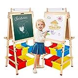 Chevalet d'art en bois double face pour enfants avec rouleau de papier et sacs de rangement pour enfants et tout-petits | Cadeaux éducatifs pour garçons et filles de plus de 3 ans