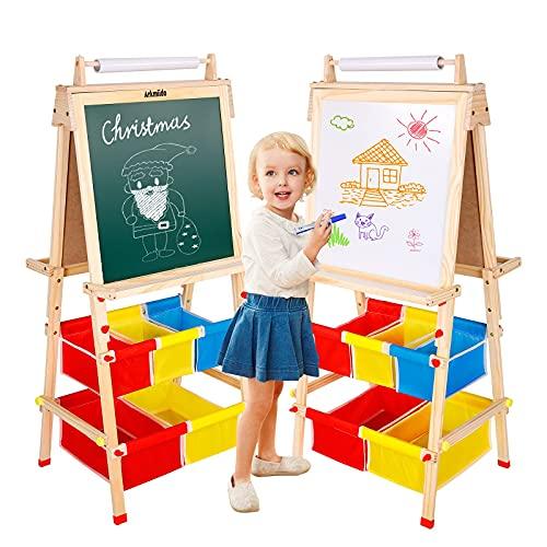 Cavalletto In Legno Per Bambini A Doppia Faccia Lavagna E Lavagna Bianca In Piedi Con Rotolo Di Carta E Sacchetti Multiuso Per Bambini E Bambini-Regal