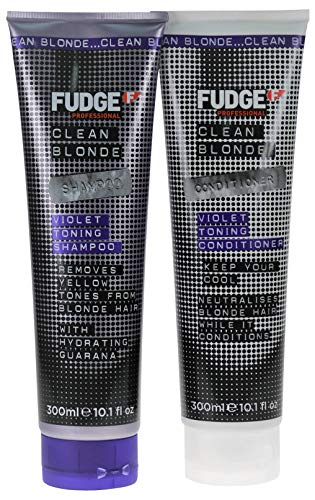 Fudge Shampoo und Conditioner (2er-Packung)'Clean Violet Blonde', blondierend, 300 ml