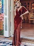 Ever-Pretty Women's V Neck Elegant Floor Length Short Sleeves Vintage Velvet Wedding Party Dresses Brick Red 24UK