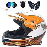 Casco de Motocross Niños, Casco Integral Moto Quad, Casco de Moto Off Road DH Bicicleta de Tierra Ciclo Quad eLéctrico BMX ATV MX Casco de Motocicleta para Hombres Mujeres, Brillante Blanco Rojo