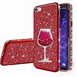 nadoli cover per iphone 6 plus/6s plus,glitter diamante brillante luccicante custodia ragazza con 3d fluente sabbie mobili bicchiere di vino case per iphone 6 plus/6s plus