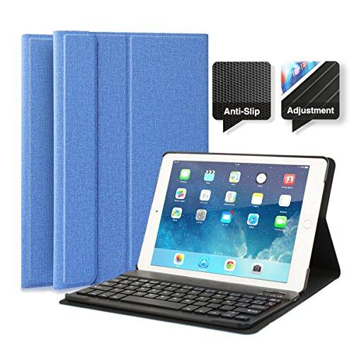 feelkaeu Compatible con iPad 2018 9.7 iPad 2017 iPad Air 1/2 iPad Pro 9.7 Funda con Teclado Bluetooth, iPad Funda Protectora con Teclado Inalambrico QWERTY Español Azul Oscuro