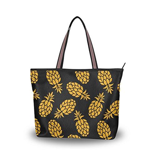 JSTEL - Bolso de hombro grande con asa superior para mujer, frutas coloridas y piñas, diseño de piña