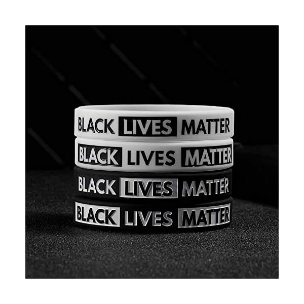LAIRIES 2-Pack BLM Bracelet for Adult and Kids Stretchy Black Lives Matter Silicone Rubber Wristbands Gifts