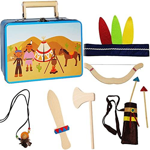 alles-meine.de GmbH 9 TLG. Set: Indianerkoffer - Spielset Indianer mit Zubehör - aus Holz - Kostüm / Kopfschmuck & Deko für Kinder - Tomahawk / Pfeil Federn - Indianerset - R..