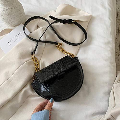 LOH Pierre Motif Sacs Bandoulière Sacs Femmes Été Sacs À Main D'épaule Femelle Voyage Cross Body Bag, Noir, 22 cm x 15 cm x 7 cm