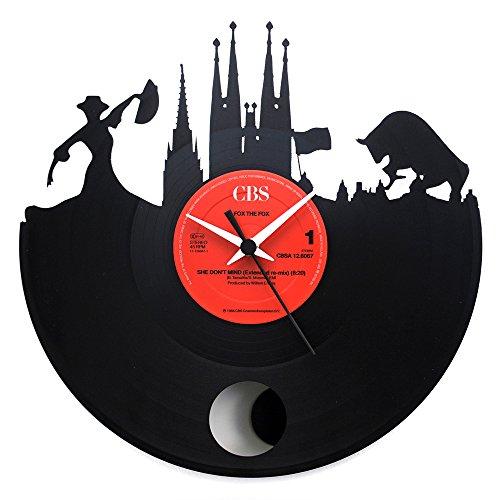 España Barcelona, regalo especial, reloj de péndulo vinilo negro, Vinyluse original, recuerdos de viaje