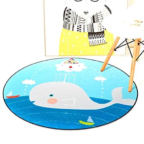 KFEKDT Cartone Animato Animale Tappeto Tondo Camera da Letto Soggiorno Neonato Tappeto per Bambini Cestino per Appendere Tappeto per Computer Tappeto per Giochi all'aperto A2 Diametro 120 cm