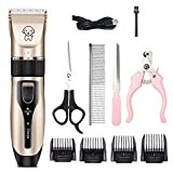 Gecheer Dog Clippers, Dog Shaver Dog Grooming Kit Professional Pet Grooming Clippers with Rechargeable, Low Noise, Cordless, Dog Cat Rabbit Hair Trimmer Cutter Kit