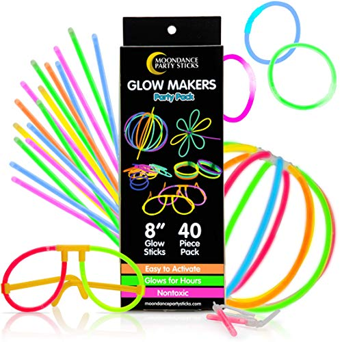 PartySticks Moondance 40pk Glow Sticks and Connectors - Glow in The Dark Party Favors for Kids and Adults, Glow Stick Party Supplies, Glow in The Dark Necklaces, Glow Glasses, and Light Up Bracelets