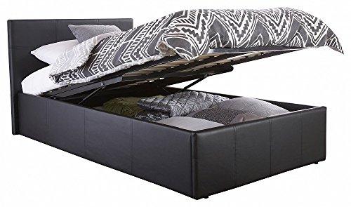 Home Source, letto con contenitore contemporaneo in ecopelle nera, Similpelle, Black, Singolo